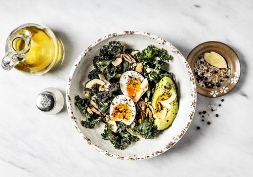 kale salad with avocado and eggs