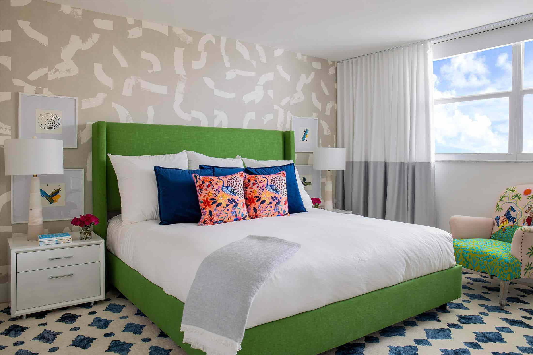 bedroom with different colors and patterns