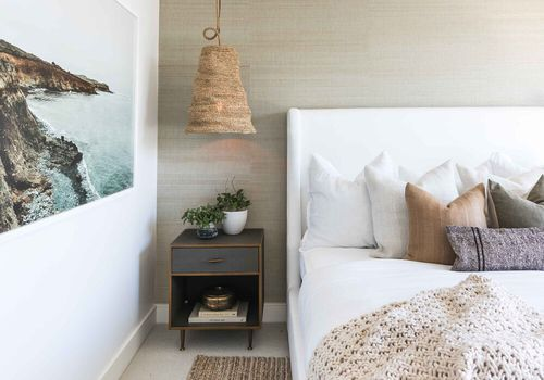 coastal decor - beachy bedroom with rattan accents