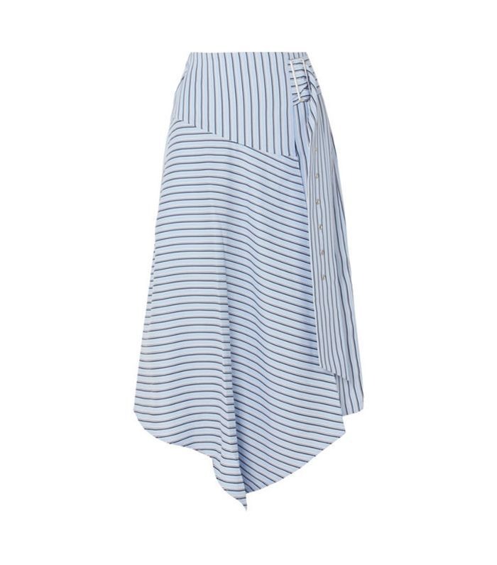 Wrap-effect Striped Poplin Midi Skirt