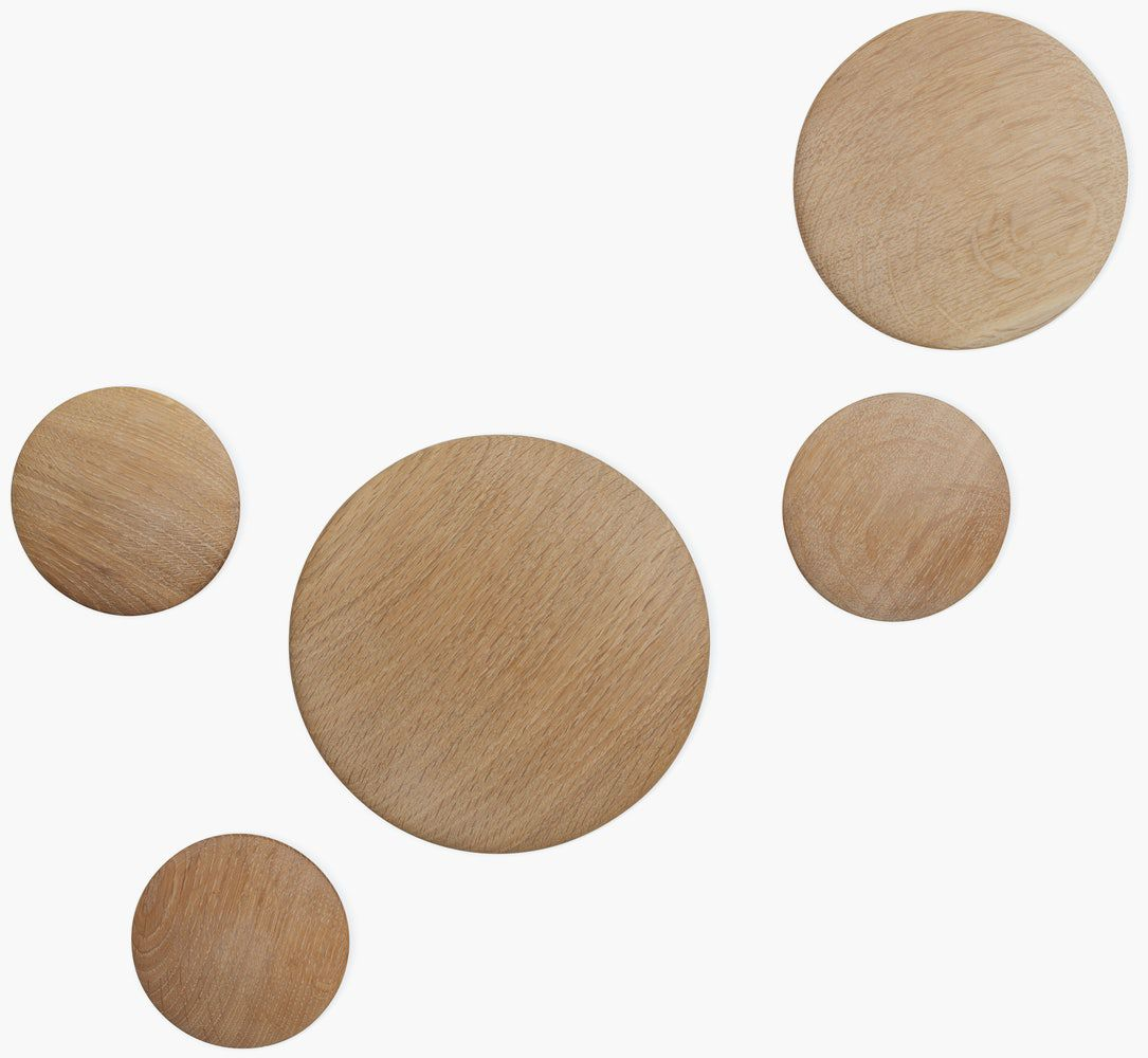 A series of wooden dot hooks