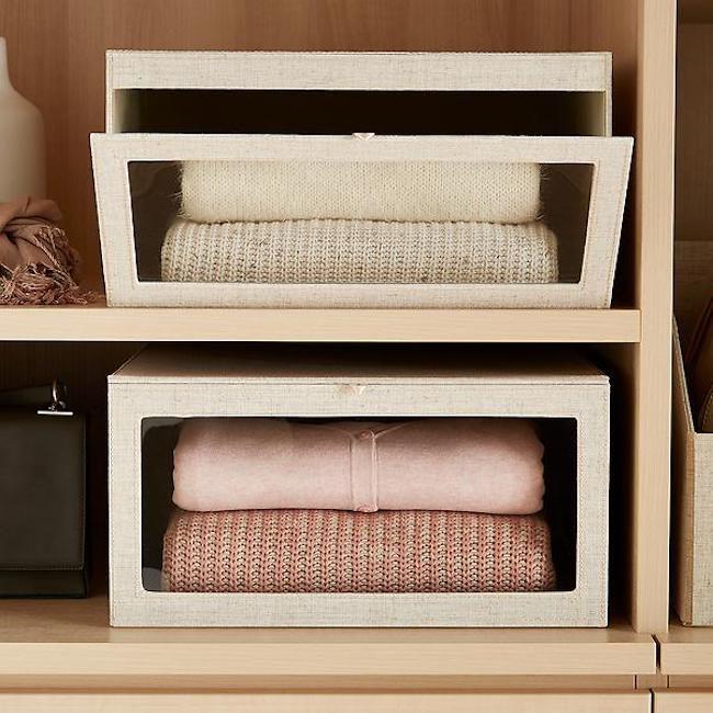 Linen Cambridge Drop-Front Sweater Box