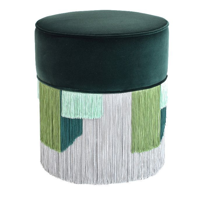 Lorenza Bozzoli Design Dark Green Pouf With Geometric Fringe