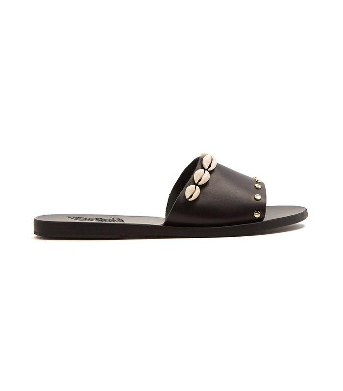 Taygete shell-embellished leather slides