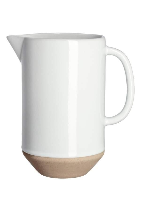 - Stoneware Pitcher - White - H & m Home