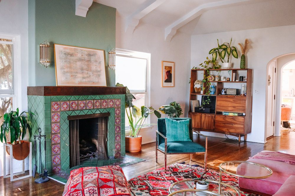 Colorful small living room with organized clutter
