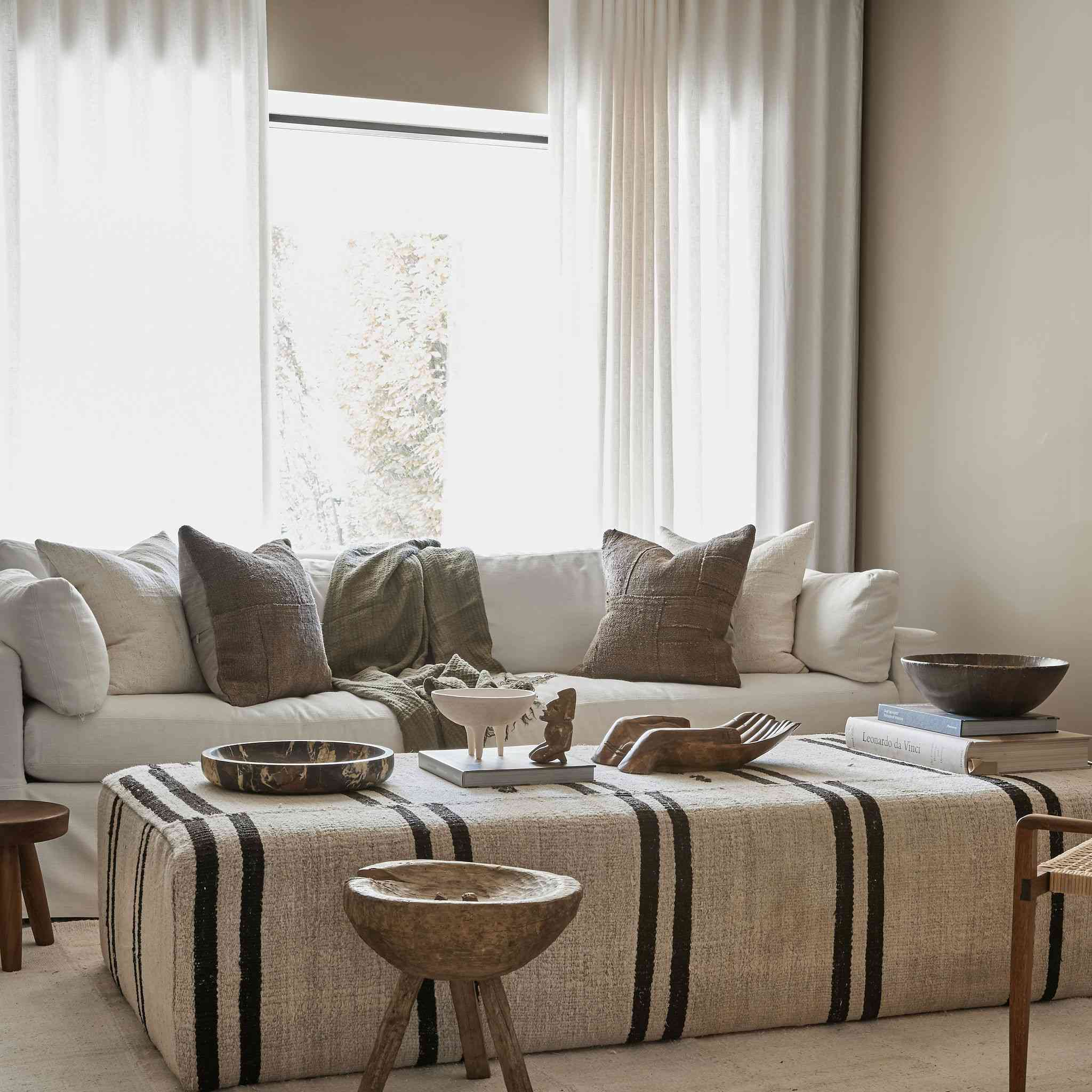 earth tones white couch living room