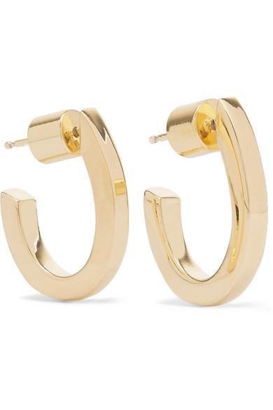 Square Huggie Gold-plated Hoop Earrings