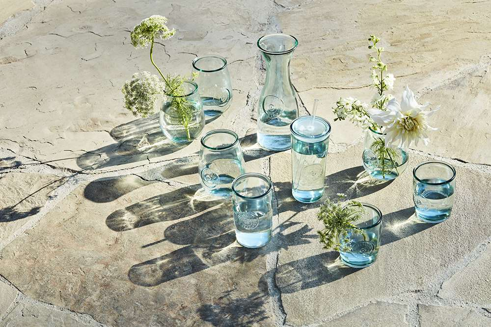 Recycled glassware.