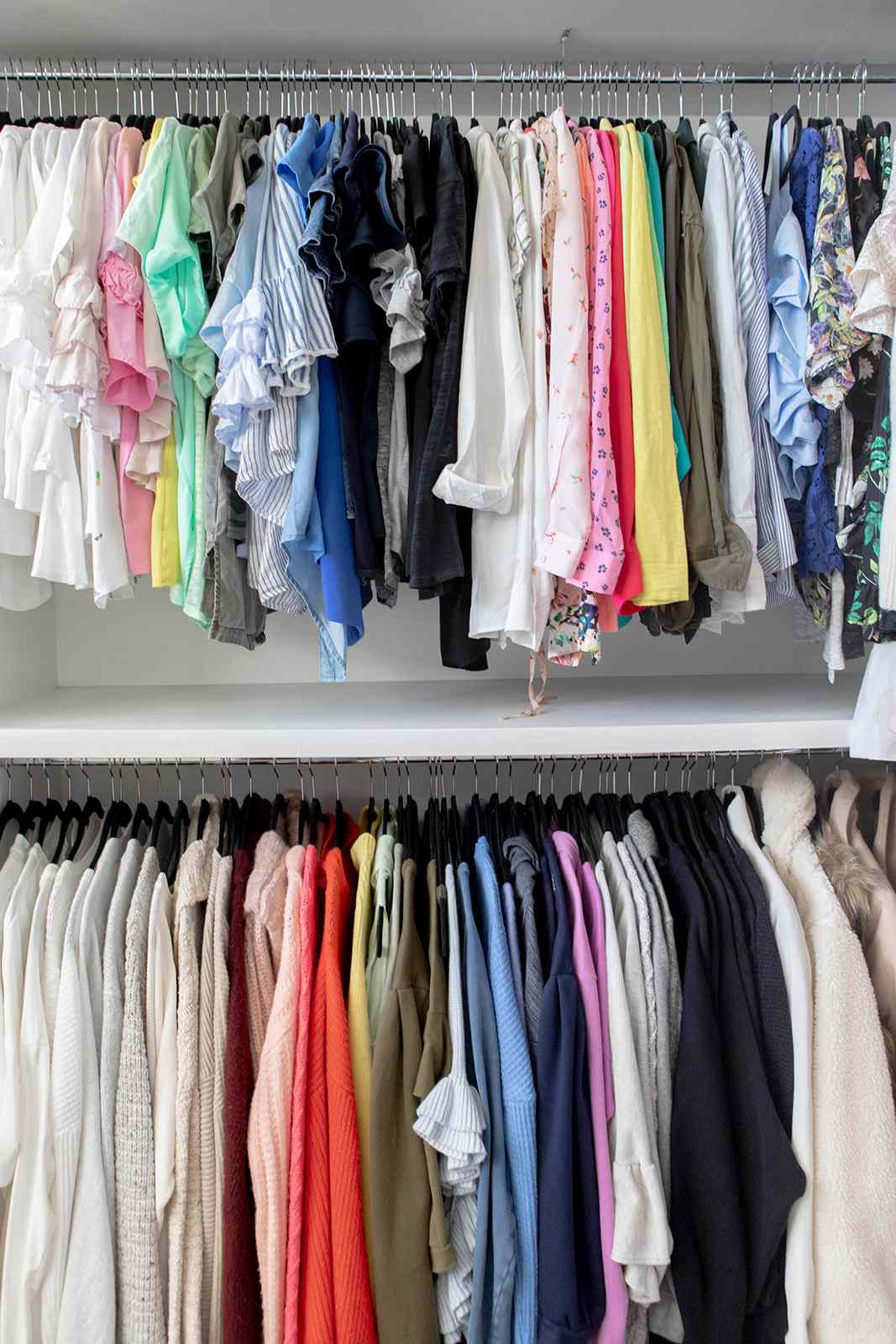 Hanging clothes racks with matching hangers
