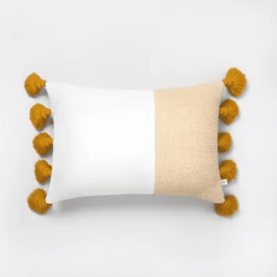 Textured color-block lumbar pillow