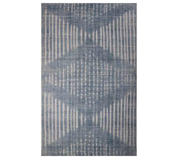 Blue and white dyed outdoor rug