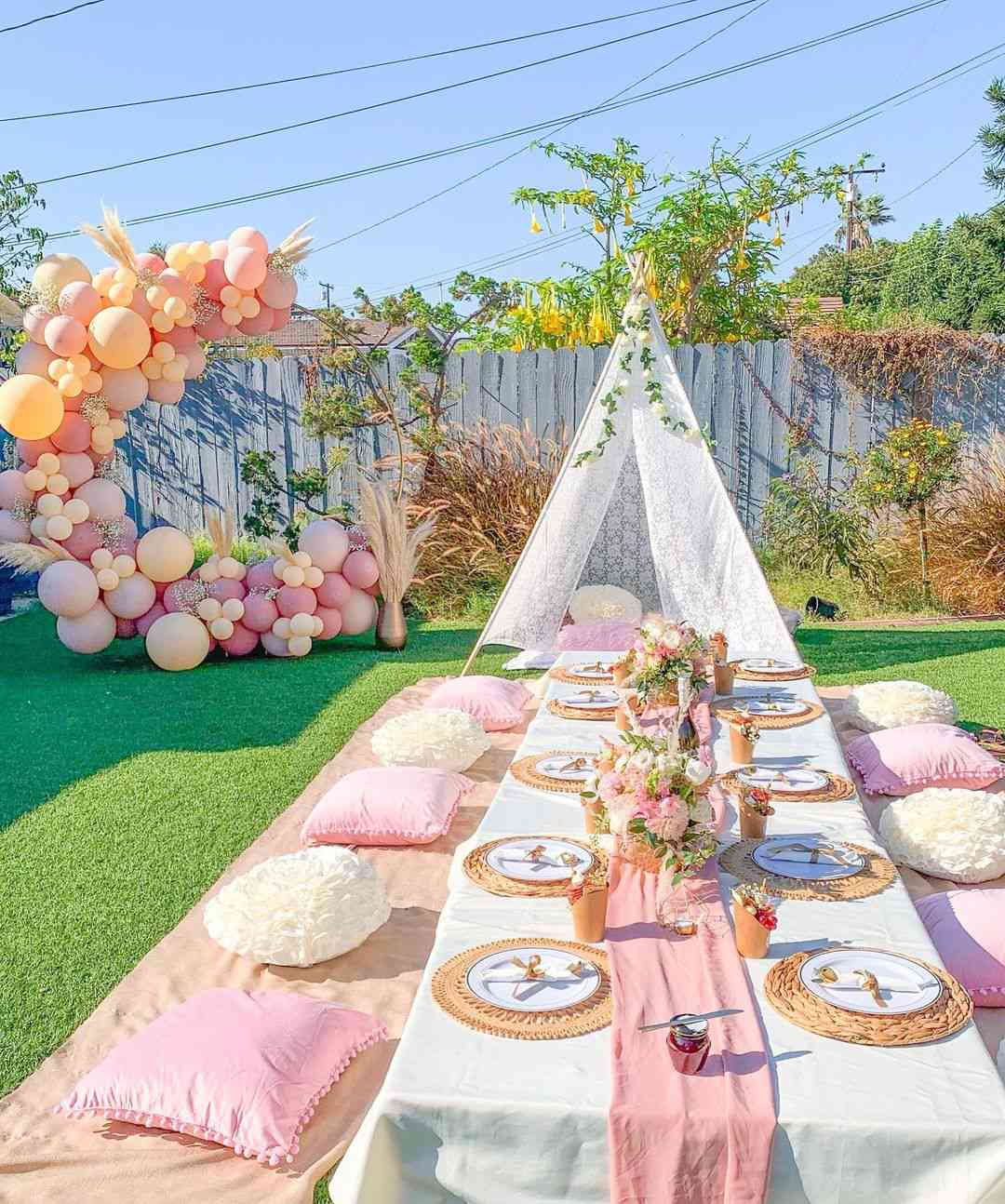 outdoor party decor low table