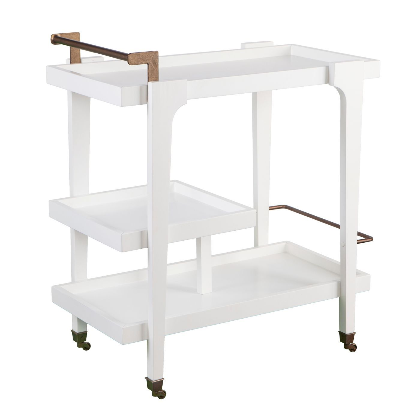 white bar cart with brass handle