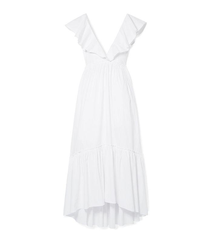 D'été Ruffled Striped Cotton-blend Midi Dress