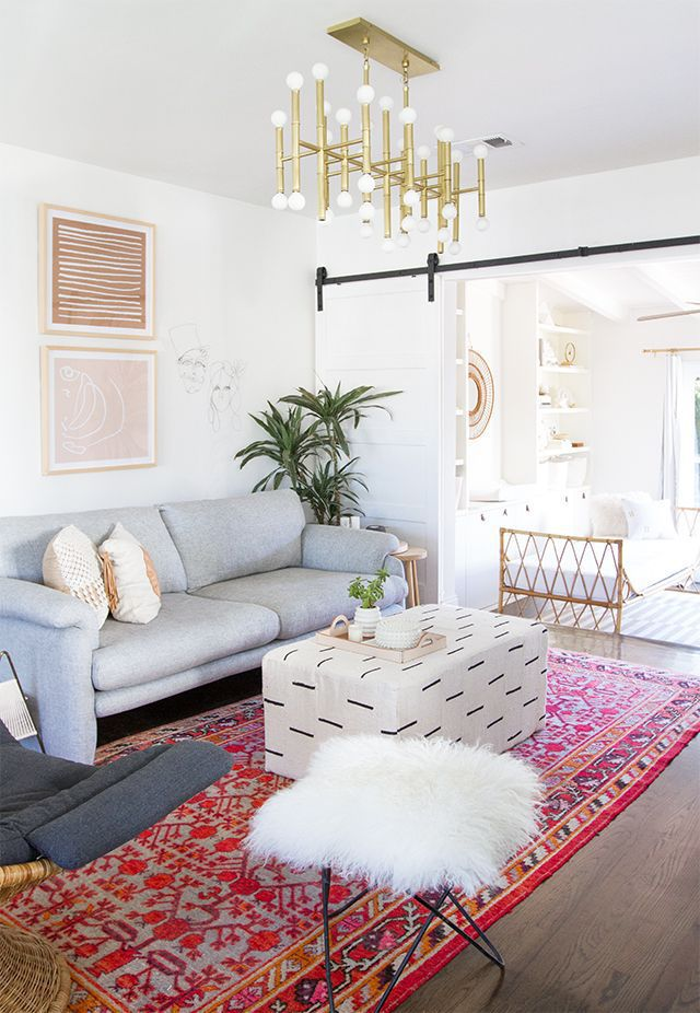 Cozy and vibrant living room with sliding barn door