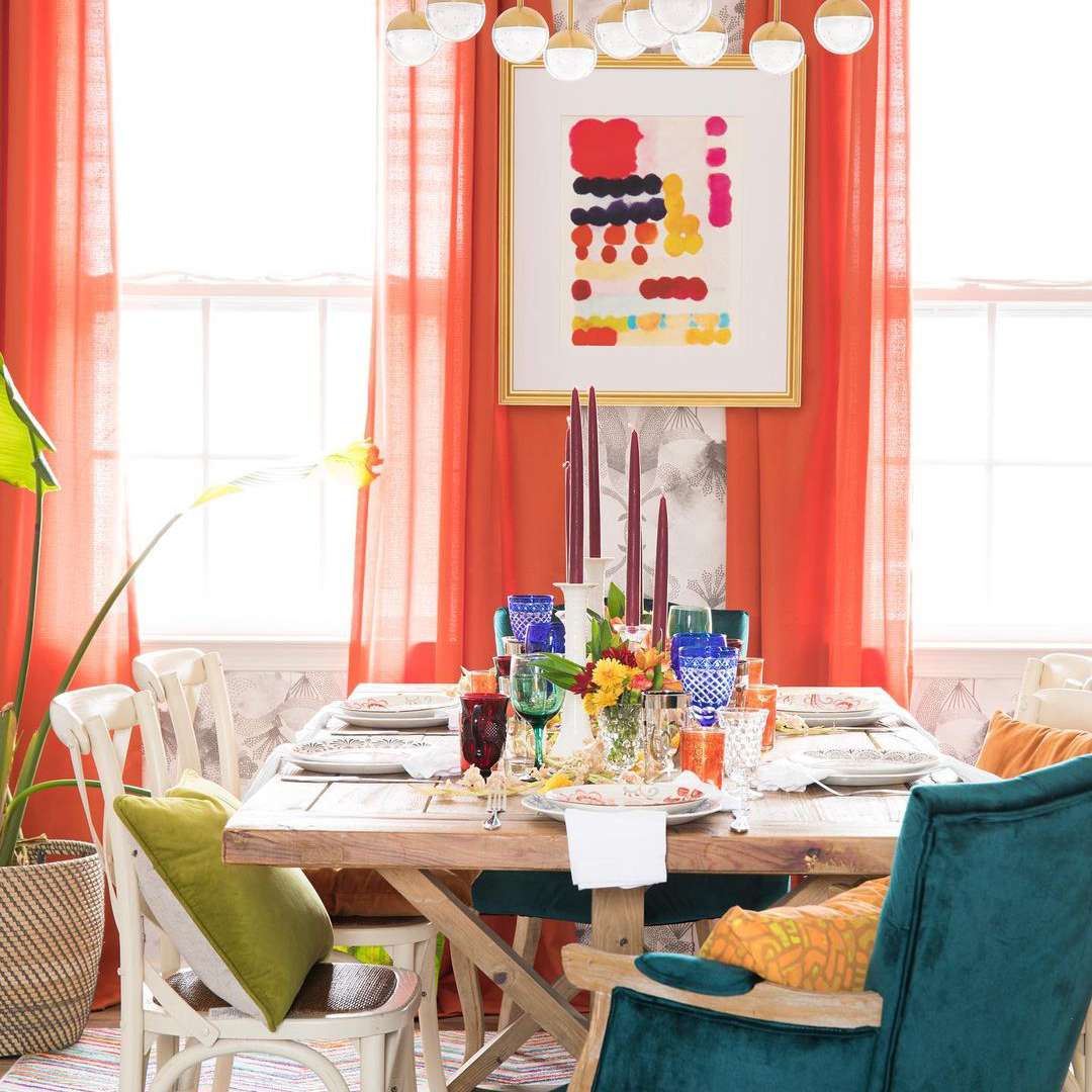 Orange curtains in dining room
