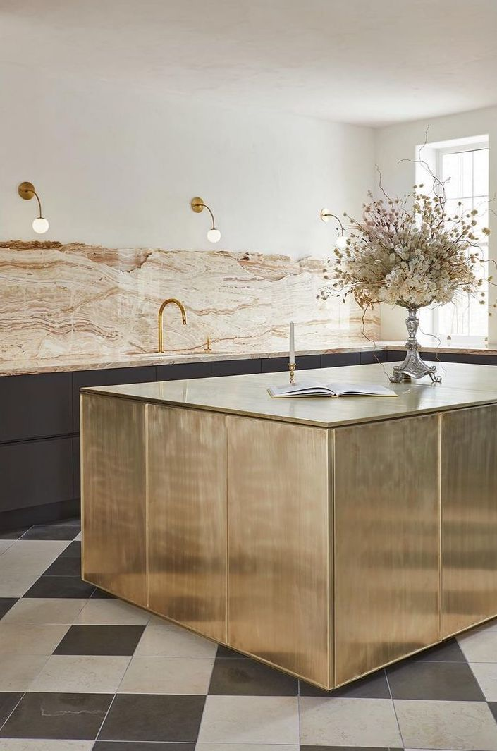 Kitchen with rose gold marble accents
