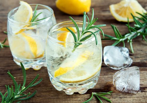 Two cocktails garnished with lemon and rosemary.