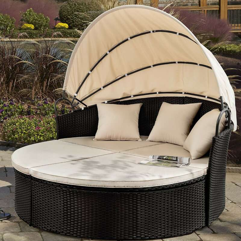 Gatun 66-inch Wide Outdoor Wicker Patio Daybed