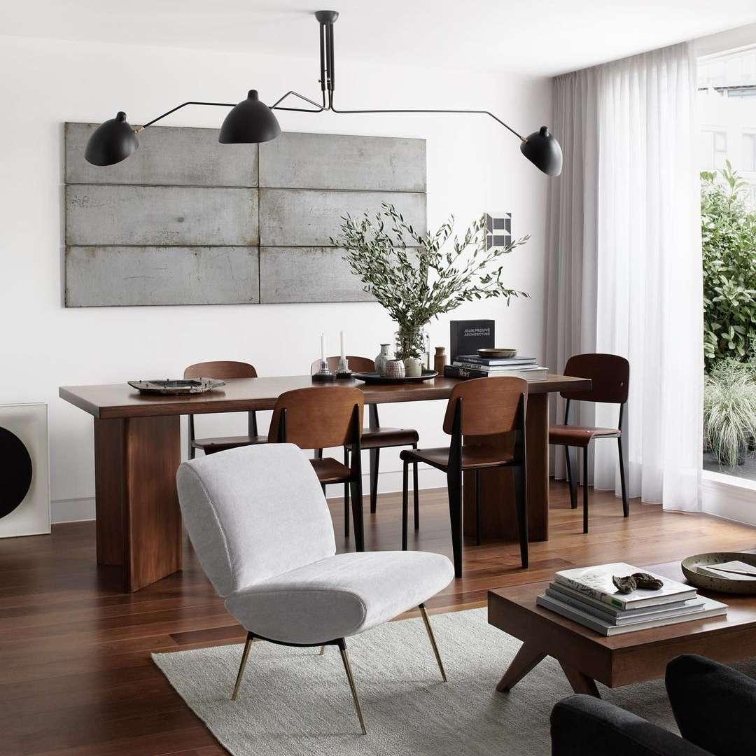 Gray art in dining room