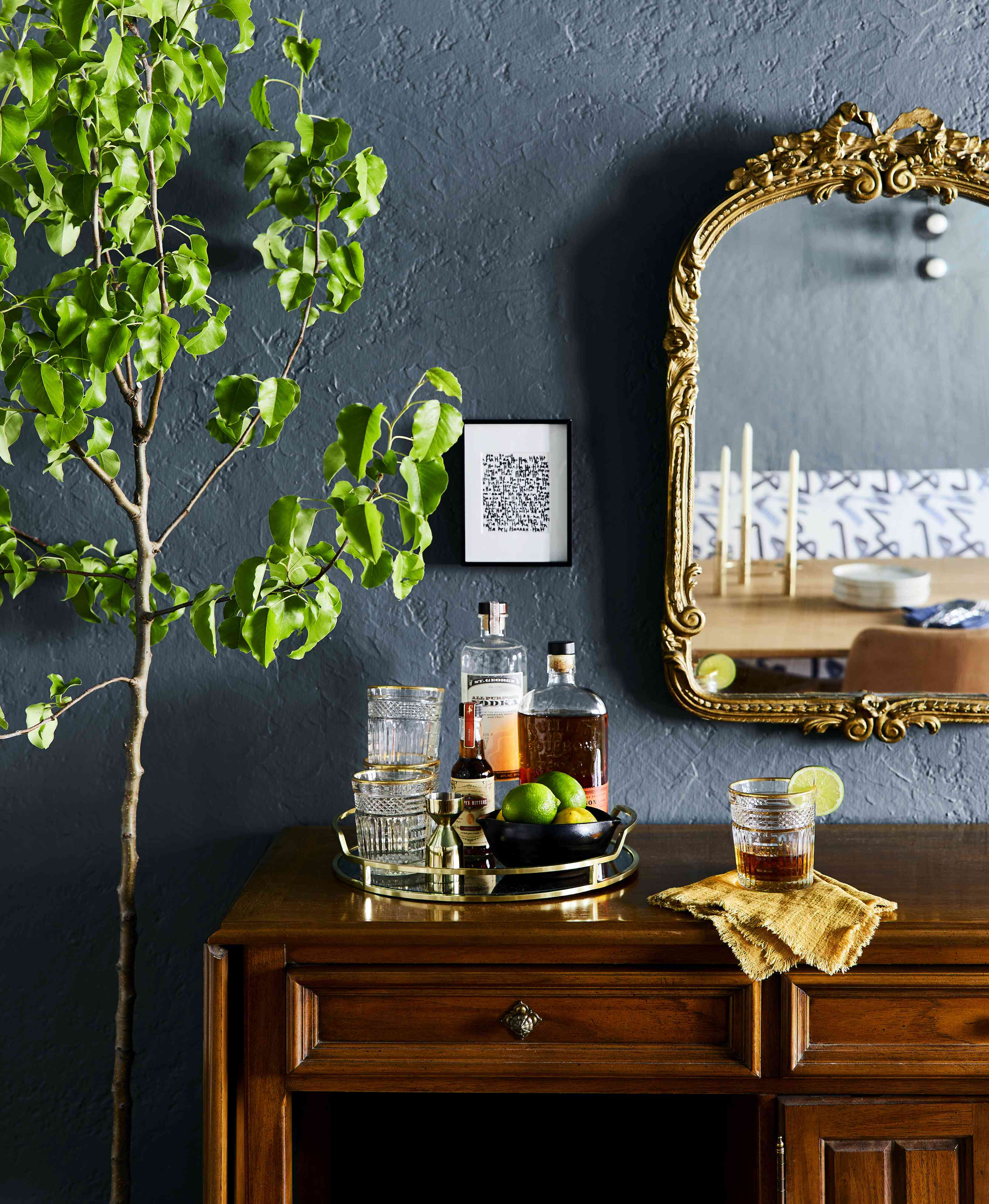 Dining room with blue paint
