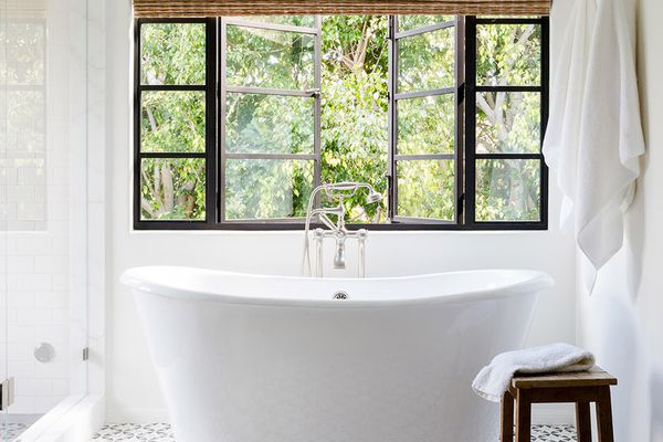 Modern bathroom with soaker tub and graphic tile