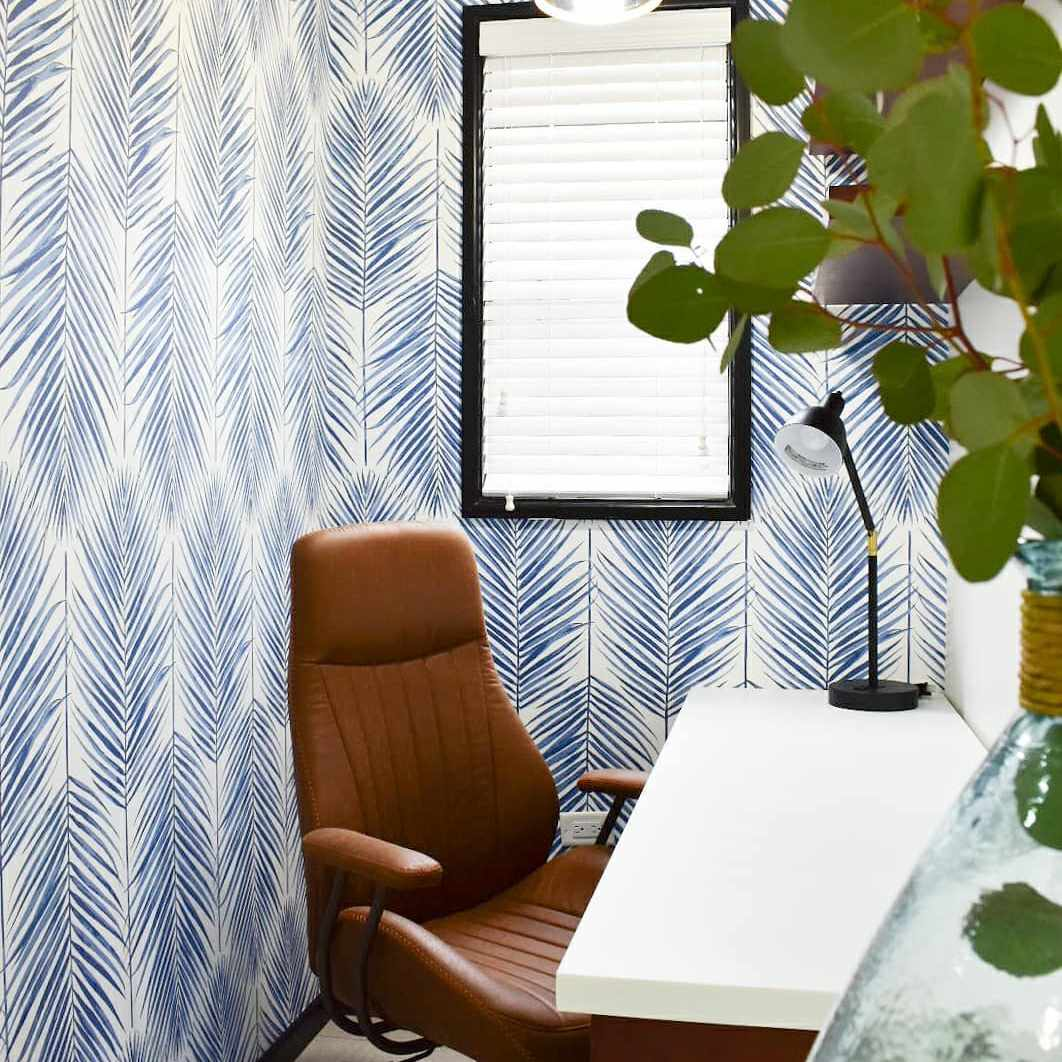 Wallpapered small office