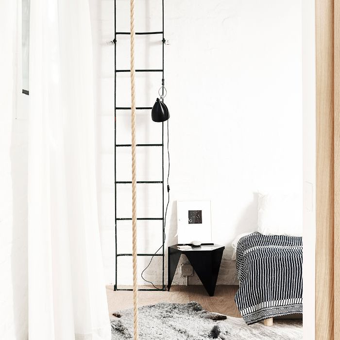 industrial bedroom furniture and child's swing