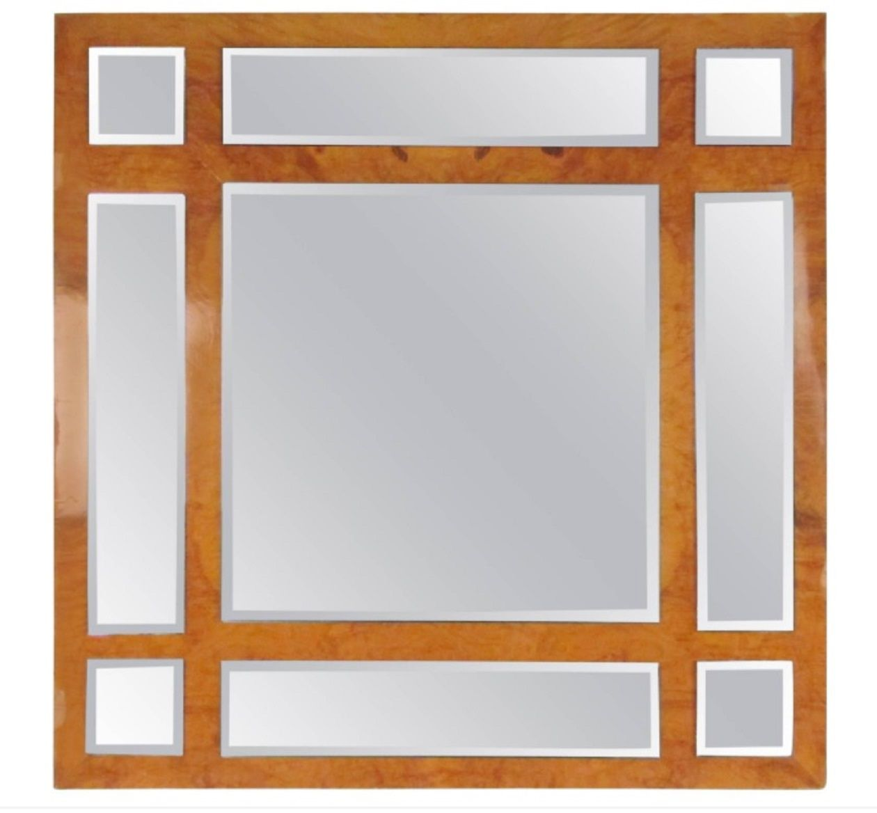 1stDibs Vintage Modern Burlwood Mirror in the Style of Milo Baughman