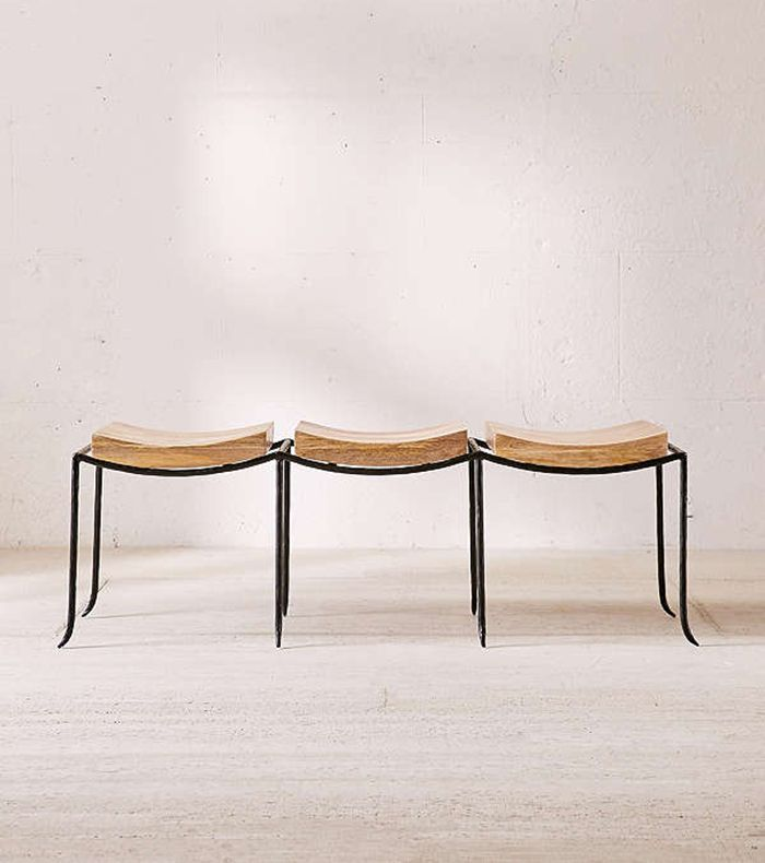 Urban Outfitters Tri-Seat Mango Wood Bench