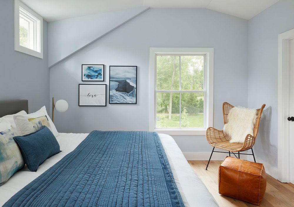 Navy and orange bedroom