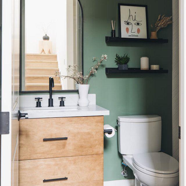 Green bathroom wall