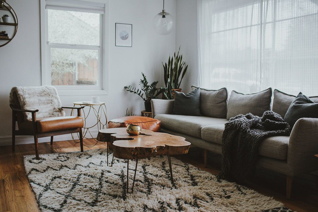 Cozy living room with various textures