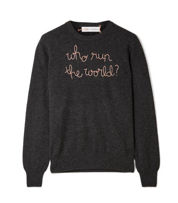 Suéter bordado de cachemira bordado de Who Run The World