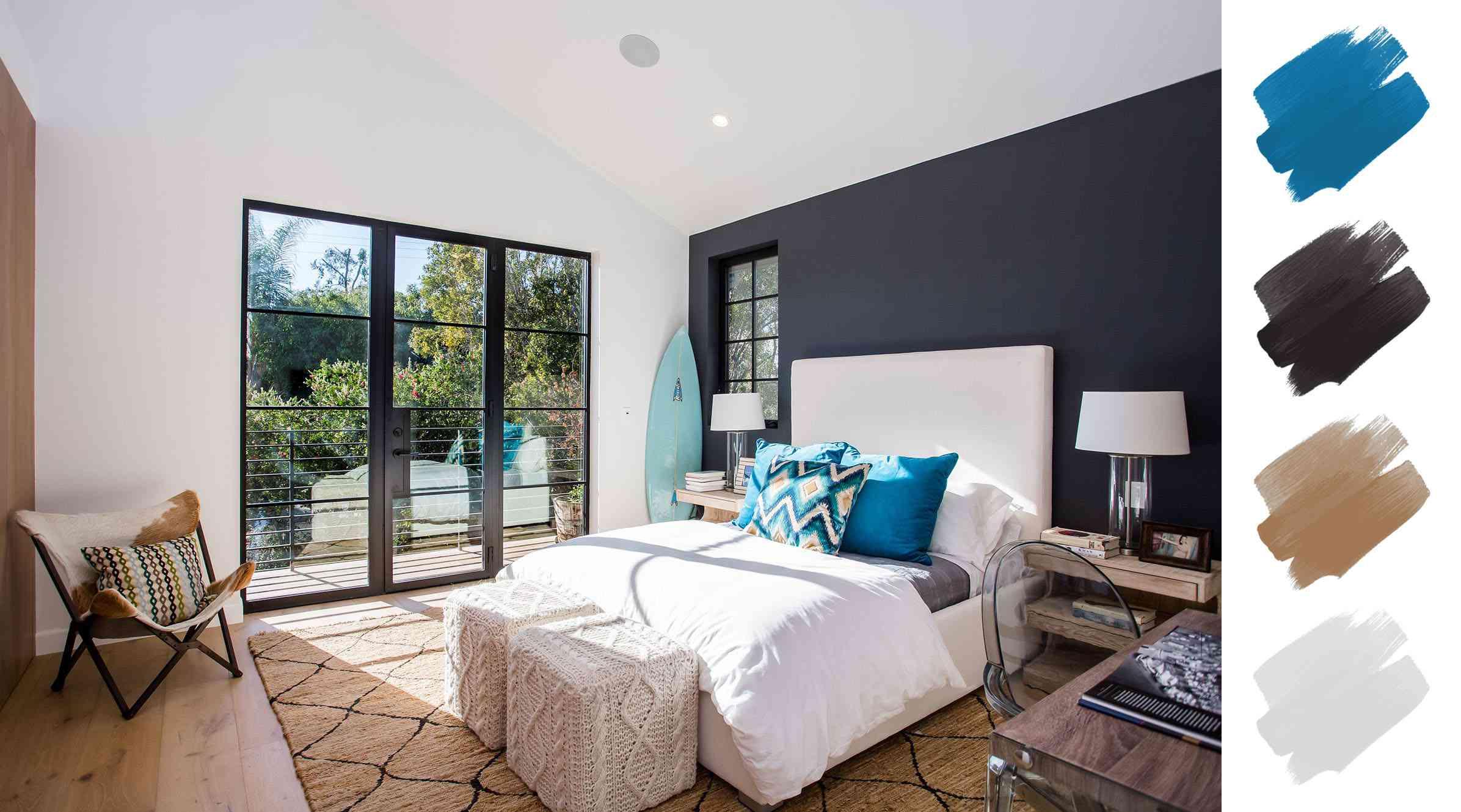 bedroom color schemes - bright blue + gray