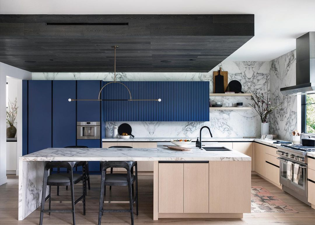 Blue, black, and wood kitchen
