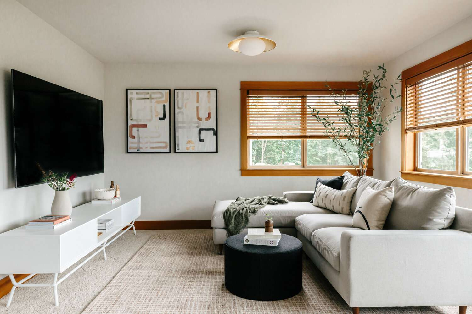 Small living room with couch against a long wall