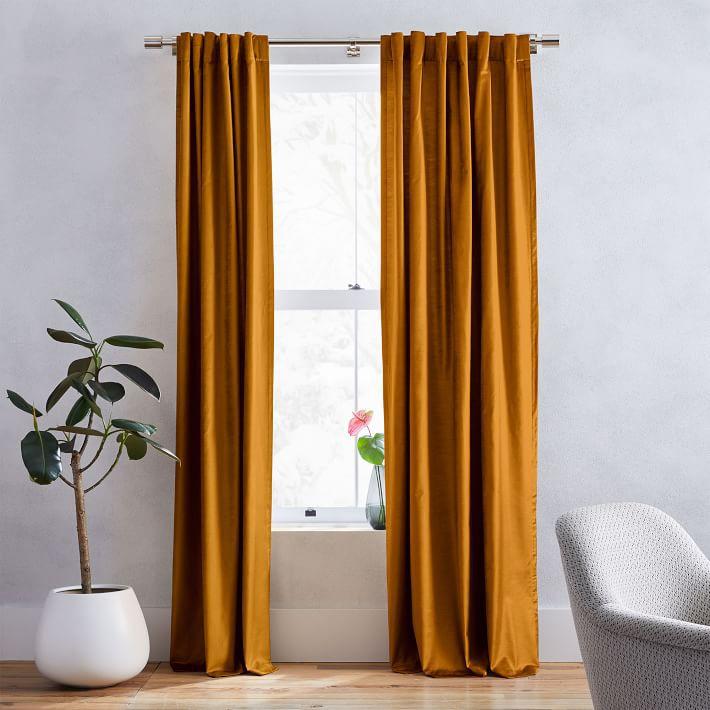West Elm velvet curtain