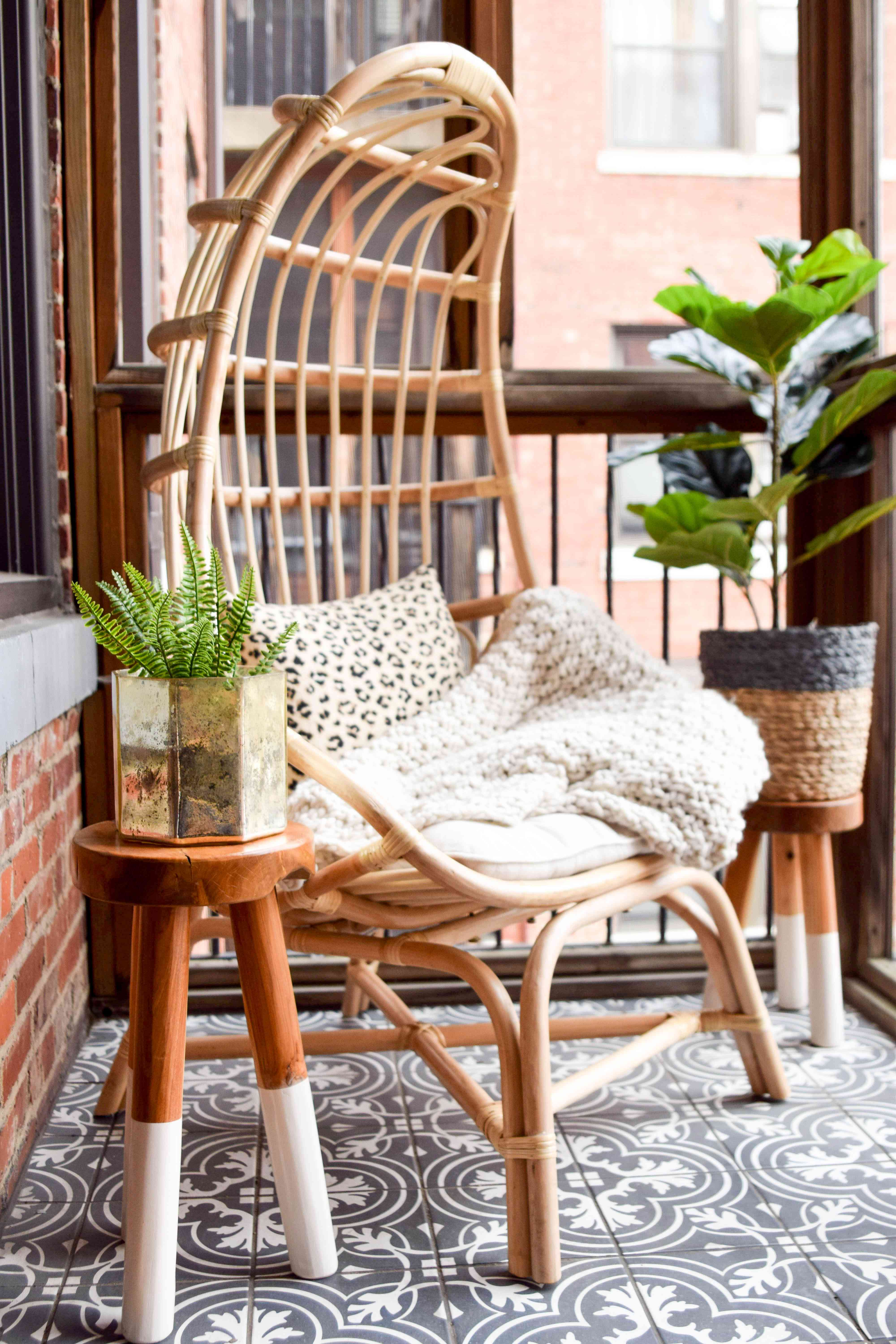 Cocoon chair on balcony.
