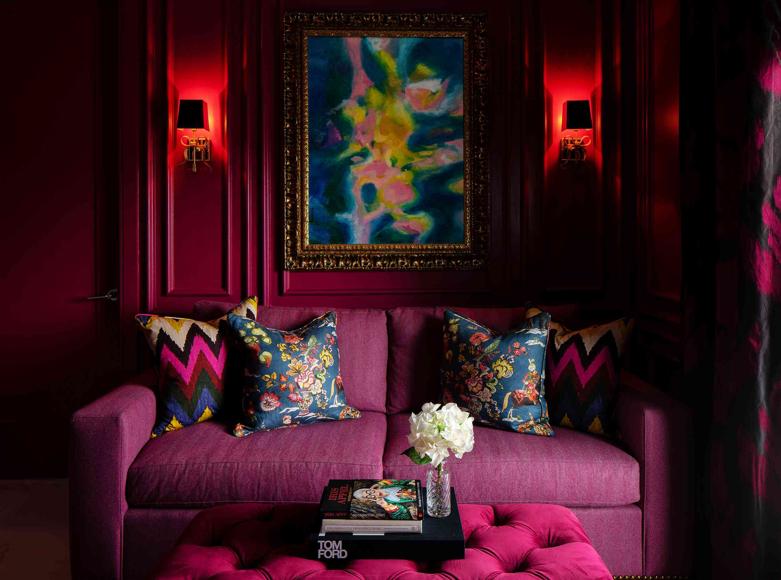 Lisa Gilmore's favorite room - raspberry room with pink couch and wainscoting