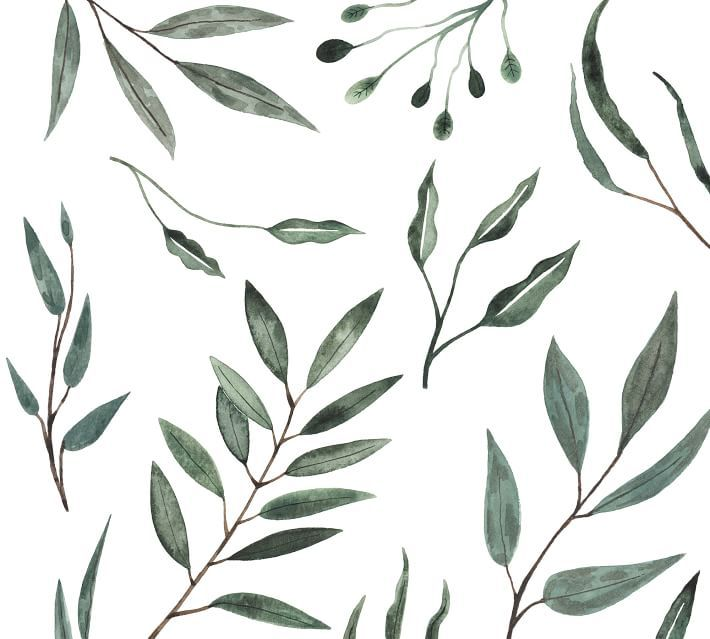 A swatch of wallpaper with watercolor leaves painted on it