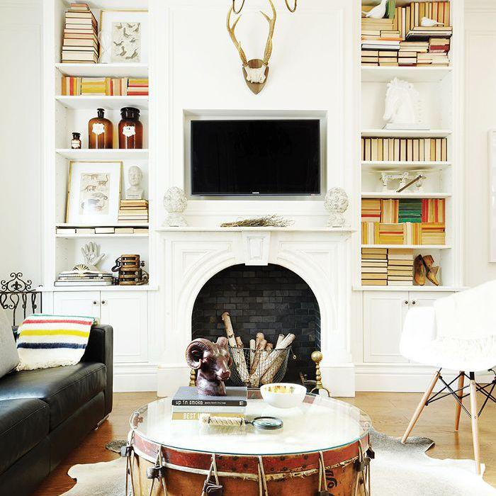 Vintage drum as coffee table alternative in living room
