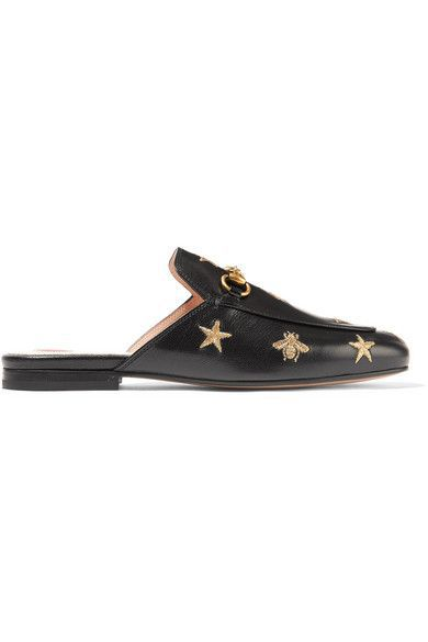 Gucci Princetown Horsebit-Detailed Embroidered Leather Slippers