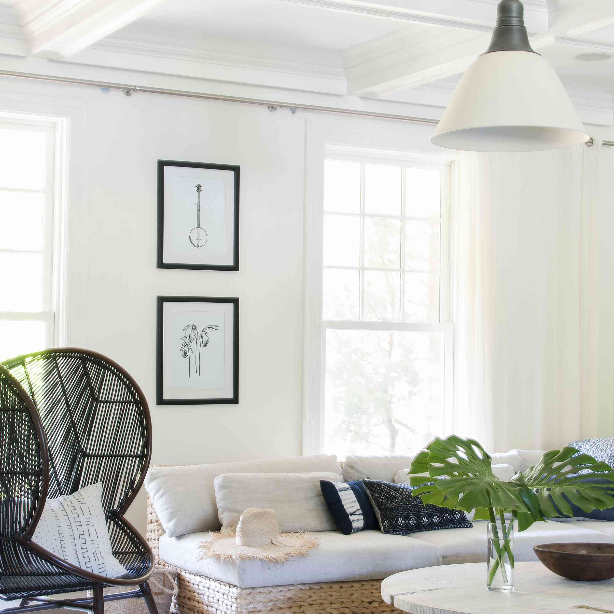Modern boho chic living room with natural accents