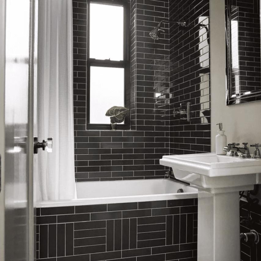 Black and white, tiled bathroom