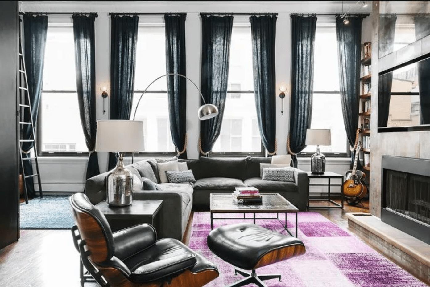 Industrial chic Manhattan loft living room