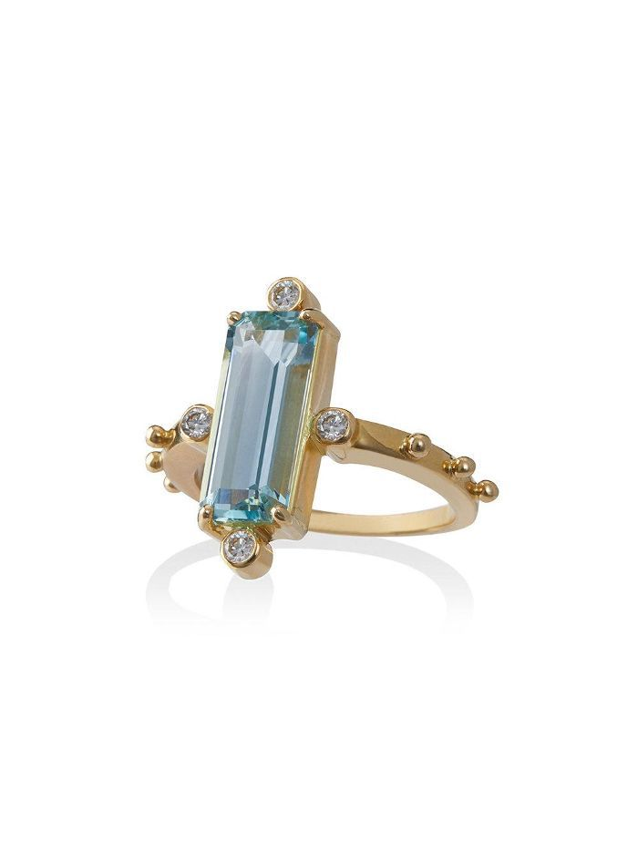 18k gold ring with aquamarine and diamond