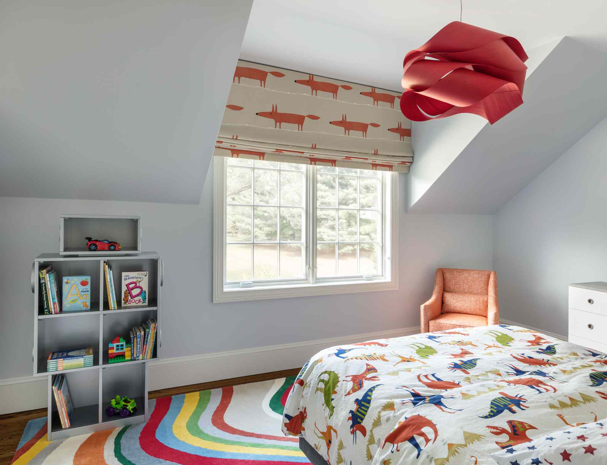 After shot of bright and colorful boys bedroom.