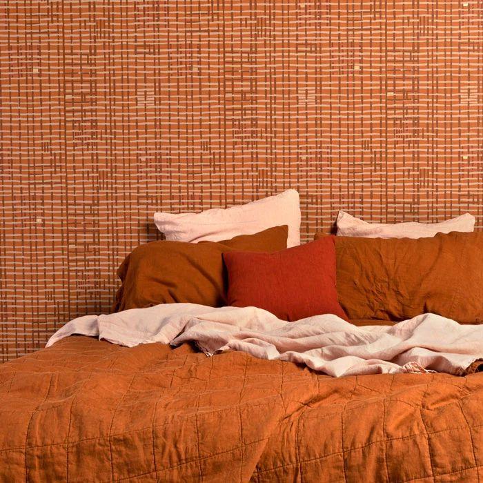 ropa de cama de lino de terracota